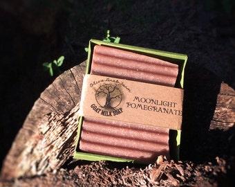 Moonlight Pomegranate Bar Soap - goats milk soap
