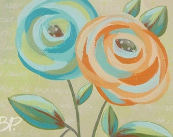 FLORAL 4: Abstract Floral Painting - 8 x 10 Giclee ART PRINT - Orange and Blue Flowers, Expressionistic, Colorful, Vase, Mixed Media