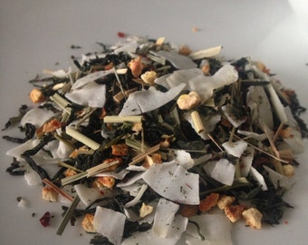 Coconut Breeze Loose Leaf Tea, Dao Ren Green Tea, Orange, Lemon