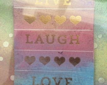 Live Live Laugh watercolour
