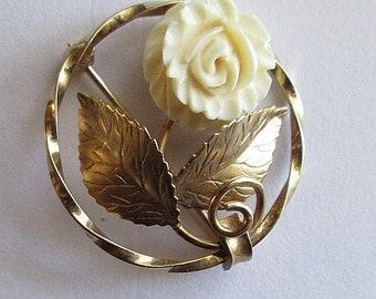 Gold Filled Pearl Leaf Motif Vintage Pin Brooch square shape