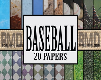 Baseball Digital Papers! 20 Printable Digital Baseball Scrapbook Papers! Instant Digital Download, printable Scrapbooking Papers!