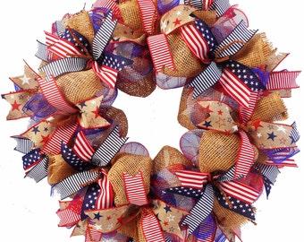 "4th of July - Stars and Stripes Wreath - 24"" - So pretty!! - Deco Mesh"