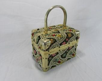 Free Shipping ~ Vintage Delill Italy Trunk Handbag~Purse ~ Tapestry~ Carpet Bag ~ Floral ~ Makeup Bag