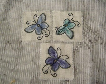 Handmade Cross Stitched Pack Of 3 Oriental Butterfly Motifs.