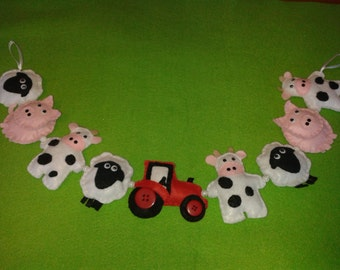 Farm bunting with sheep, pigs and cows