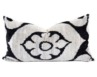 16x25 Uzbek hand-woven black & white ikat pillow cover in silk velvet