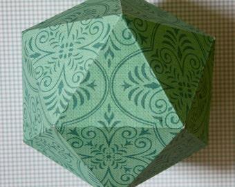 Geometric paper ball - Mint arabesque pattern