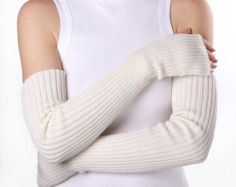 White Fingerless Gloves, Long Arm Warmers