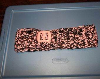 Crochet Head band ear warmer with plastic pink buckle design