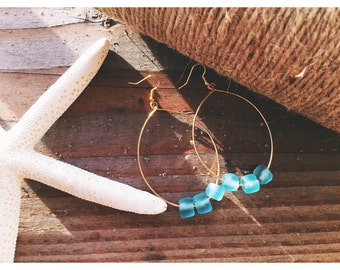 Gold hoops with 3 blue glass