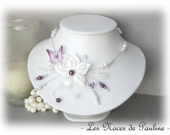 Parma and white satin wedding necklace and Butterfly Katell