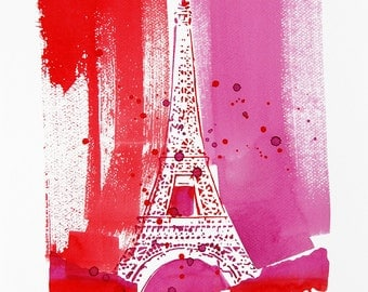 Original Watercolor Painting, Not Print, 9.4 inch x 12.6 inch, Eifel Tower, Paris, Pink-Red, 08032013062mLMPRRS