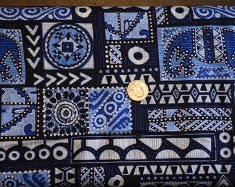 """BLANK FABRIC, """"Ethnic Echoes"""", Indigo, 100% Cotton"""
