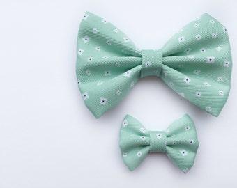 SALE MINI Mint Daisy Bow, baby headband, baby hair clip, baby girl, girl toddler, hair bow, headband, baby gift