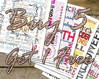 Buy 5 Get 1 Free Seasonal Subway Art, Printable Subway Art, Word Wall Art, Seasonal Subway Art