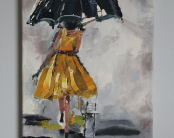 Girl With Umbrella Painting