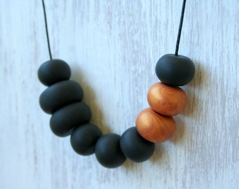 Copper accent statement necklace/ charcoal grey modern polymer clay necklace / unique bold handmade design