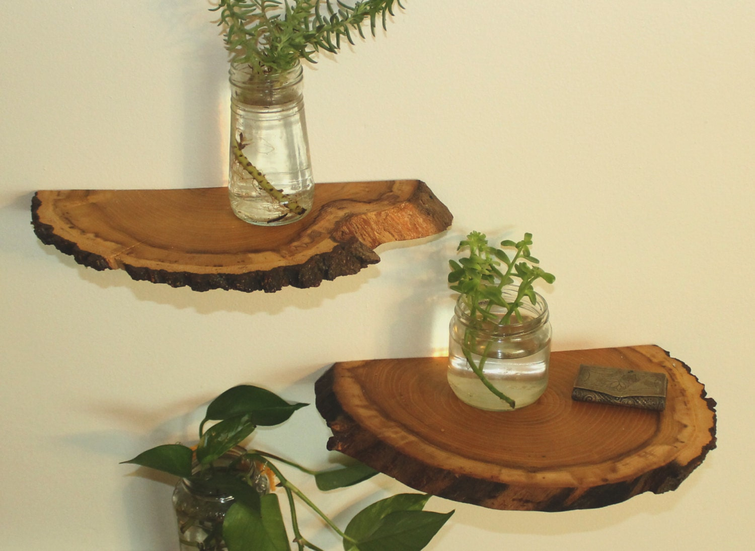 Home Decor Made From Recycled Materials Shelves Wood Slab Shelves Wood Shelf Natural Wood Shelves