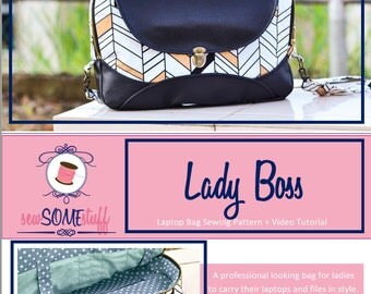 """Lady Boss laptop bag sewing pattern ONLY for 13"""" and 15"""" laptop"""