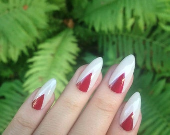 Red Triangle Fake Nails