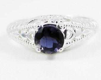 Iolite Filigree Ring Sterling Silver, Water Sapphire Ring, Sterling Iolite Ring, Iolite Filigree Ring, 925 Sterling Silver Filigree Ring