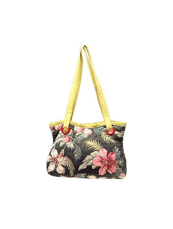 Curvy Bark-Cloth Flowers tote bag by textile artist Laura Baumann
