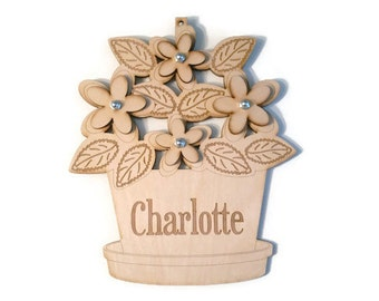 Wood Laser Cut Engraved Etched Customized Child Sign Name Plaque - Flower Pot - You pick the flower color