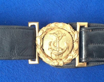 Vintage leather belt with brass buckle of the Argentina Navy. Post 1940