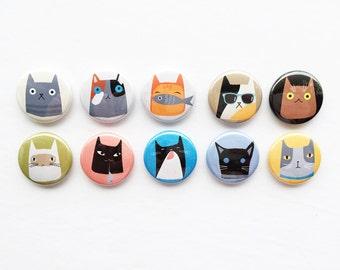 Set of Flair Buttons {grumpy kittens}