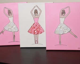 Button Ballerinas with Pink & White Tutus x3