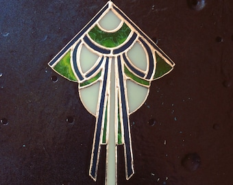 Art Deco Stained Glass Suncatcher - Teal, Green, Mint