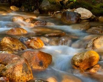 Glowing Rocks, Fine Art Print, Streams of light, Nature photography, Canadian Artist, BC beauty, orange rocks