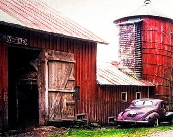 Red Barn And Silo, New England Travel Photo, Old Plum Colored Car, Vermont Travel, Wall Decor