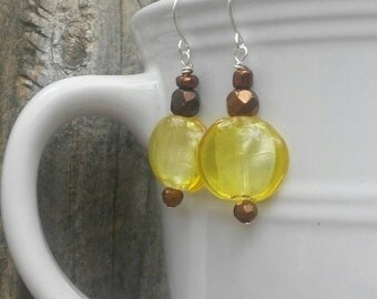 Summer Sale Yellow earrings. Bronze earrings. Dangle earrings. Summer earrings. Fashion earrings.