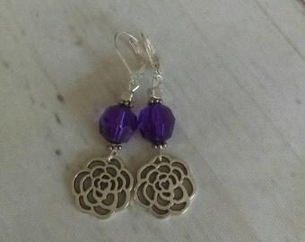 Summer Sale Rose earrings. Purple earrings. Flower earrings. Dangle earrings
