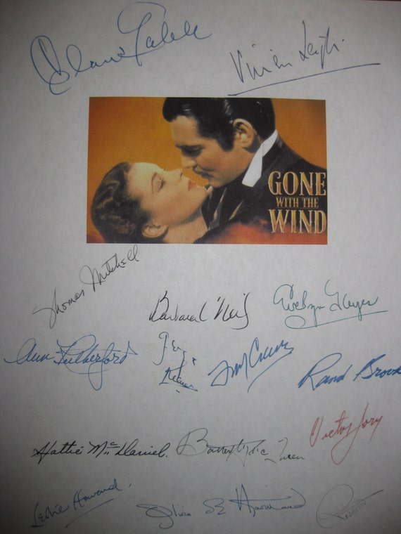 Gone with the Wind Signed Film Movie Script Screenplay Autograph X15 Vivien Leigh Clark Gable Thomas Mitchell Barbara O'Neil Evelyn Keyes