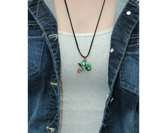 Black faux leather necklace with turquoise and copper charms