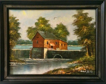 Price Reduced!  Collectible, Water Mill Original Oil Painting, Landscape by Brian Roche, Framed, Cyber Monday