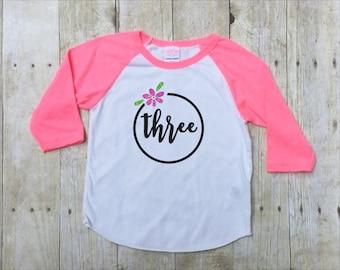 Three Birthday Shirt-Third Birthday Shirt-3rd Birthday Shirt-Girls Birthday Shirt-Girls Pink Birthday Shirt-Pink Glitter-Photo Shirt