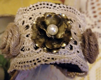 Vintage Inspired Crocheted Bracelet with Brass Rose and Two Crocheted Flowers in Matching Colors