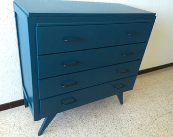 SOLD! Chest of drawers vintage feet blue compass