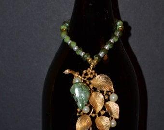 Wine bottle decor., gold color leaf, jade stone  (#B61)