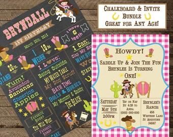 Cowgirl Theme Birthday, Cowgirl Chalkboard, Girls Birthday Chalkboard, Cowgirl invite, Cowgirl invitation, western, ranch, first birthday