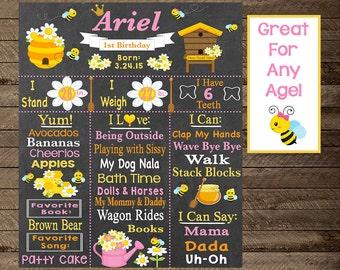 Bumble Bee Chalkboard sign, Bee birthday chalkboard, Bee theme birthday, First Birthday Sign, Bumble Bee party theme, girls first birthday