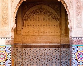 Marrakech, Morocco - Fine Art Print, Color Print, Morrocan Art, Marrakesh, Morocco, Mosaic Door, Travel Photo
