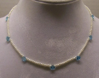 Handcrafted sterling silver Topaz Pearl Necklace