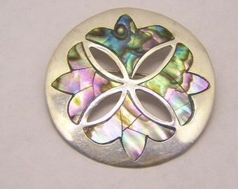 sterling silver Mexican abalone brooch pin pendant