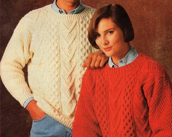 His & Hers Aran Sweaters, Knitting Pattern. PDF INstant Download.