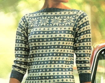 Fair Isle Sweater With Boat Neck, Knitting Pattern. PDF Instant Download.